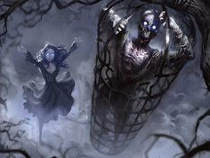 """"""" Art by Miles Johnston. The other type of Innistrad zombies, ghouls are more traditional zombies raised directly from the dead by ghoulcallers. Lacking the patience for stitching, Liliana prefers ghouls. Fantasy Kunst, Fantasy Art, Miles Johnston, Black Artwork, Wattpad, Necromancer, Fantasy Warrior, Magic The Gathering, Black Magic"""