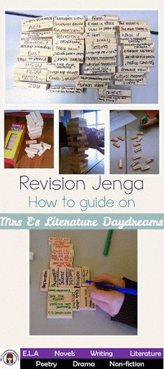 literaturedaydreams Revision Jenga - perfect review task. Blog post and instructions