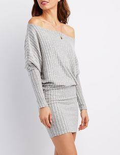 e5e5c035a0e Ribbed Hacci Bodycon Sweater Dress