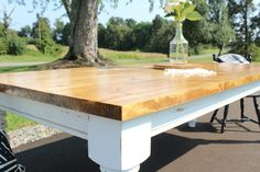 How to Build your Own DIY Farmhouse Dining Table with white base and stained top - Pin This Build A Table, Farmhouse Dining Room Table, Diy Dining Table, Walnut Dining Table, Wood Table, Contemporary Kitchen Tables, The Ranch, Kitchen Furniture, Free Plans