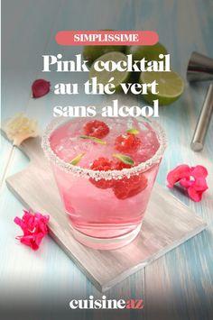 Une recette de cocktail rose sans alcool au thé vert, à la pastèque, aux framboises et au citron. #recette#cuisine#cocktail#sansalcool #the #thevert #fruit #cockailsansalcool Cocktail Rose, C'est Bon, Fruit, Panna Cotta, Cocktails, Pudding, Pink, Ethnic Recipes, Desserts