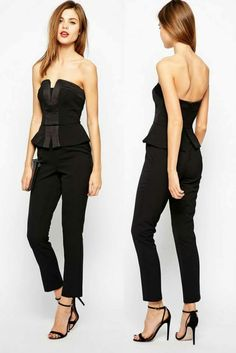 2fe1a26915b Shoulder Revealing Peplum Corset Rompers New Cheap Black Woman Overalls  Backless Jumpsuit China Clothes Full Length