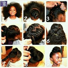 quick and easy kid braid updo natural hairstyle pictorial