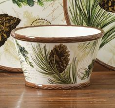 Walk in the Woods Set of 4 Dolomite Soup & Cereal Bowls , 157655STPD | Lang -- < and the TEApoT is HERE in my Wish List board ... http://www.pinterest.com/pin/507710557966675646/ . >