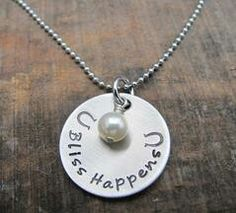 """Bliss happens on a horse! Stainless steel necklace with pearl on a 24"""" chain. Hand stamped with love for Horse Hippie Shop www.happyhorsehealthyplanet.com/horse-hippie.html"""