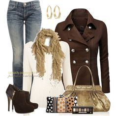 """Peacoat Jacket & Pattern Clutch"" by casuality on Polyvore"