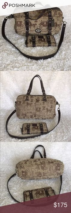 Coach Chelsea Retired Satchel and Zoe Wallet Mahogany and tan jacquard canvas. Mahogany leather, nickel hardware on both satchel and wallet. Shoulder strap included. Great pre-loved condition. Coach Bags Satchels