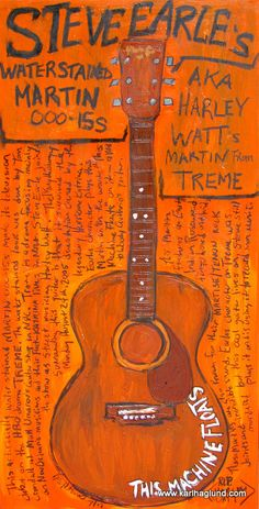 Steve Earle Martin waterstained acoustic guitar by KarlHaglundArt, $20.00