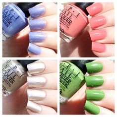 cat eyes & skinny jeans: OPI New Orleans 4PC Mini Set <3 || Show Us Your Tips! (Periwinkle Shimmer <3 ), Got Myself Into A Jam-Balaya (Warm Pink Creme), Take A Right On Bourbon (Platinum Metallic), I'm Sooo Swamped! (a Grass Green Creme).