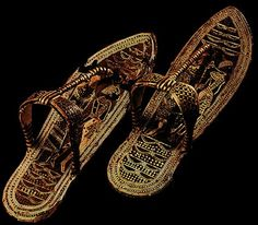 GOLDEN SANDALS belonging to King Tut of Egypt (made ​​of inlaid wood, bark and gold damask)