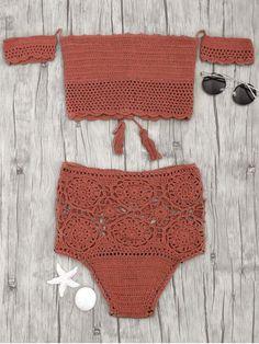 Off Shoulder High Waisted Crochet Bikini - BRICK-RED M