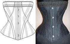 Ref H Antique a la spirite 18 inches 1882 corset paper pattern and pictures via Etsy