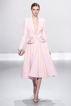 S/S 2014 Ralph & Russo - pale pink silk wool jacket with rosette and flared skirt.