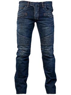 Indie Designs Stretch Cotton Denim Washed Zipper Quilted Biker Jeans