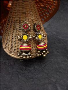 Thread Jewellery, Jewellery Earrings, Diy Jewellery, Bridal Jewellery, Terracotta Jewellery Designs, Terracota Jewellery, Funky Jewelry, Clay Jewelry, Handmade Jewelry