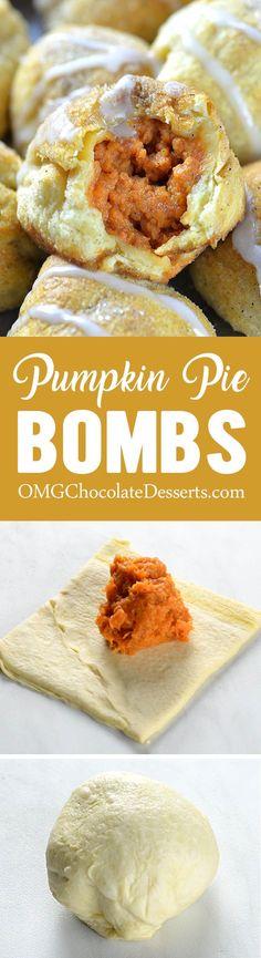 Bombs Pumpkin Pie Bombs are really fun and easy recipe and perfect way to start fall baking season.Pumpkin Pie Bombs are really fun and easy recipe and perfect way to start fall baking season. Pumpkin Recipes, Fall Recipes, Holiday Recipes, Thanksgiving Recipes, Holiday Foods, Thanksgiving Table, Dessert Oreo, Pumpkin Dessert, Pumpkin Cheesecake