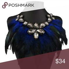Feather & crystal statement necklace💎 Gorgeous statement bib necklace with ribbon tie.  Hi Sweety!  Thanks for looking at my closet! I always have some sort of sale going on and new items arrive weekly. Be sure to check back soon!!😻  Happy Shopping!🎀💜🌸 Jewelry Necklaces