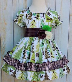 Peasant Dress featuring Alpine Wonderland fabric from Riley Blake Designs Little Girl Fashion, Little Girl Dresses, Kids Fashion, Girls Dresses, Toddler Girl Outfits, Kids Outfits, Girls Holiday Dresses, Baby Girl Patterns, Patchwork Dress