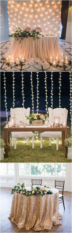 sweetheart wedding table decorations with lights backdrops