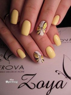 Pin by Alexia Chénier on manucure in 2019 23 Great Yellow Nail Art Designs 2019 1 Spring Nail Art, Nail Designs Spring, Spring Nails, Cool Nail Designs, Summer Nails, Nail Color Designs, Pedicure Designs, Butterfly Nail Designs, Butterfly Nail Art