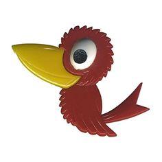 Freak Scene® Eulen & Vögel Anstecker ° DDR Anstecknadel ° Pins ° Brosche ° Motiv: Vogel - rot - http://schmuckhaus.online/freak-scene/vogel-rot-freak-scene-eulen-voegel-anstecker-ddr