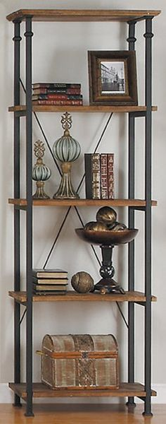 "Amazon.com - Homelegance 3228-12 Bookcase Shelves, Brown/Black - Steel Furniture. Vintage style bookcase or display shelves Burnished rustic brown and black wrought iron style finish Constructed in poplar solid wood plank and steel tube frame Providing storage for books; Magazines and other decorative accoutrements for your living space Measures: 26"" x 15"" x 74.5""H; Moderate assembly required."