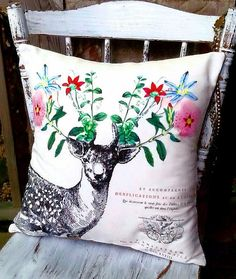 Pillow Cover Cotton and Burlap Pillow Floral Antler by JolieMarche