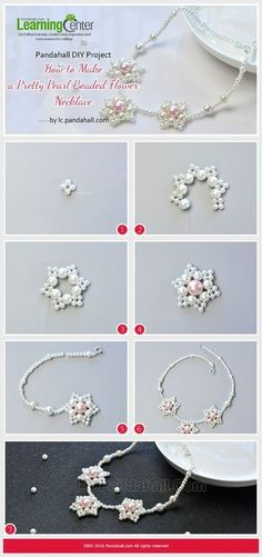 Pandahall Original DIY Project - How to Make a Pretty Pearl Beaded Flower Necklace from LC.Pandahall.com | Jewelry Making Tutorials & Tips 2 | Pinterest by Jersica