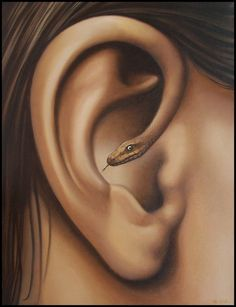 Look out! There is a snake in your ear . Unusual and unique art.  #unusual #weird #unique #art