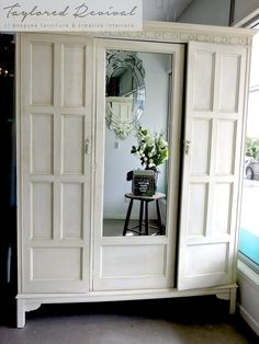 Beautiful Antique wardrobe hand painted to fit into TR's new Paint studio. With no sanding or priming we used Old White Chalk Paint™ by Annie Sloan, then detail