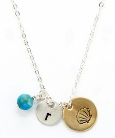 Look at this #zulilyfind! Sterling Silver & Gold Seashell Initial Pendant Necklace #zulilyfinds