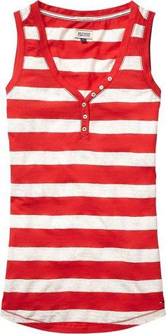 Für alle die Kunterbunt lieben, ist das Ara Tanktop von Tommy Hilfiger Denim perfekt. 55% Baumwolle, 45% Polyester...