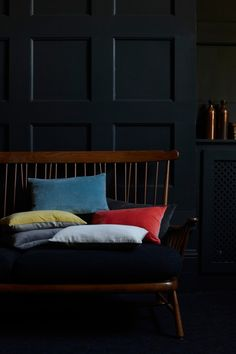 Velvet Cushions - Brave enough to go with dark colour scheme and dashes of colour? #velvetcushions are exactly what you need www.alsohome.com/cushions