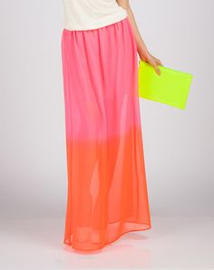 Dual Tone Sheer Skirt purpleorange found on klip.in