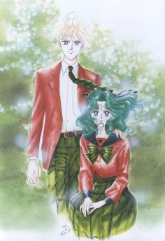 Michiru Kaioh (Sailor Neptune) & Haruka Tenoh (Sailor Uranus) in school uniform ; 美少女戦士セーラームーン原画集 Bishoujo Senshi Sailor Moon Original Picture Collection Vol.3 - by Naoko Takeuchi- Title page of the May 1994 Nakayoshi