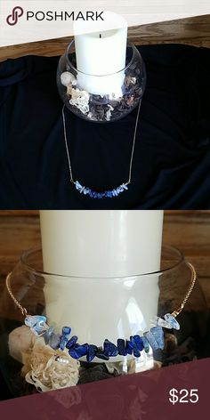 """💎Raw Sapphire Necklace 💎 Beautiful blue raw sapphire necklace on a 22"""" gold tone chain Haia Jewelry Necklaces"""
