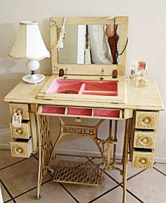sewing machine turned vanity