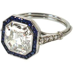 1STDIBS.COM Jewelry & Watches - An Art Deco Asscher Cut Diamond and Sapphire Engagement Ring - Elle W Collection found on Polyvore