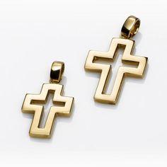 CRUZ oro amarillo. Cruz de oro amarillo de 18 kilates con calado interior. Ing, Cross Jewelry, Cross Pendant, Crosses, Religion, Jewelry Design, Pendants, Stainless Steel, Jewels
