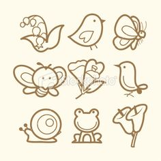 Doodle Line Art Spring Icons Royalty Free Stock Vector Art Illustration