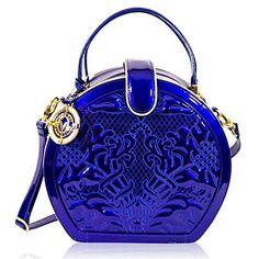 b2df5f489c10 Shop Real Italian Cobalt Blue Embroidered Leather Round Handbag by designer  Valentino Orlandi at Designer Italian bags