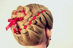 4 strand braided updo with ribbon. Would be super cute for a little girl for the Fourth of July.