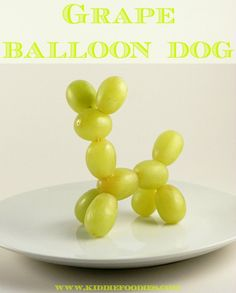 Grape balloon dog - fun dessert for kids.  Visit pinterest.com/arktherapeutic for more #funfood and #feedingtherapy ideas