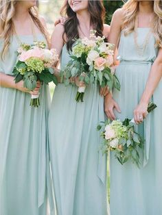 flowy mint gowns and relaxed waves + lush bouquets = bridesmaid perfection! mint / peach wedding - love it Delicate Wedding Dress, Mint Green Bridesmaid Dresses, Mint Dress, Bridesmaid Flowers, Bridesmaid Colours, Mint Maxi, Perfect Wedding, Dream Wedding, Boho Wedding