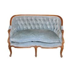 TheTriston: Vintage Slate Blue Velvet Tufted Settee || Something Vintage Rentals: Vintage rentals and handcrafted pieces for weddings and events in DC, Maryland, and Virginia ||