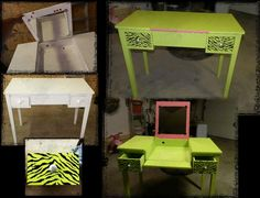 Before & After..new teen size make-up desk that was broke and damaged...now looking stylish and in working order again