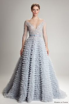 6ca8d9c033f9 hamda al fahim fall 2012 2013 ligh blue wedding dress illusion sleeves  ruffle skirt Blue Wedding