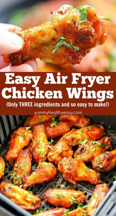 air fryer recipes If you love chicken wings, you have to try this Air Fryer Chicken Wings Recipe! This will be your new, go-to, favorite wing recipe from now on! Theyre healthier, easy to make and only THREE ingredients needed! Air Fryer Recipes Chicken Wings, Air Fryer Oven Recipes, Air Fryer Dinner Recipes, Chicken Recipes, Recipe Chicken, Nuwave Oven Chicken Recipe, Chicken Wings Airfryer, Actifry Chicken Wings, Chicken Wing Seasoning