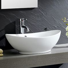 Fine Fixtures Modern Vitreous Oval Vessel Bathroom Sink with Overflow