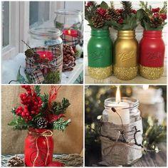 40 ideias para Potes Decorados de Natal Christmas Time, Snowflakes, Mason Jars, Christmas Decorations, Bottle, Research Projects, Diy, Venus, Home Decor